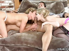 Fucking two sexy chicks with gorgeous perky tits tubes