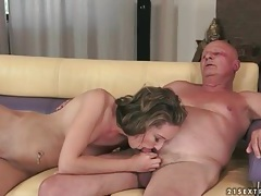 Fucking her young pussy makes grandpa cum tubes