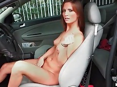Driving the car and stripping her bikini tubes