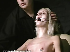 Tongue torture and tit pain for skinny blonde tubes