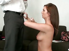 Pretty brunette with slim body sucks dick on knees tubes