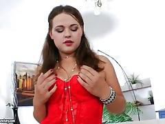 Goddess in red lingerie fingers her pussy tubes