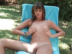 Naked girl models bald pussy outdoors tubes