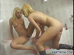 Lesbian mistress shaves her girl in the tub tubes