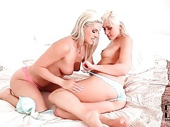 Blondes in sexy panties have erotic lesbian sex tubes