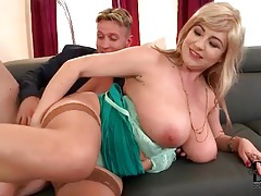 Voluptuous blonde in lingerie laid by cock tubes