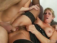 Hairy milf wears lingerie and sits on cock tubes