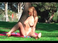 Busty bikini girl frisked in the park tubes