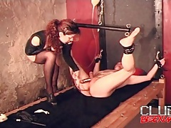 Bound man takes an enema from sexy girl tubes