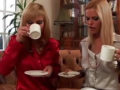 Tea time turns to lesbian sex with satin ladies tubes