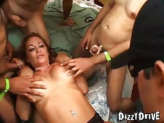 Guys surround her and gangbang her body tubes