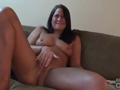 Curvy girl rubs her pussy while giving interview tubes