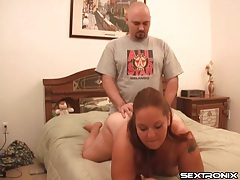 Fucking and fingering fat chick in doggystyle tubes