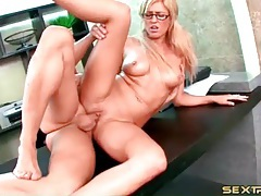 Blonde in black glasses fucked on her desk tubes