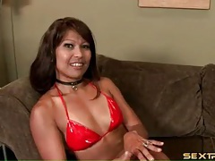 Deepthroat asian blowjob with sexy gagging tubes
