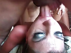 Mouth open for face fucking in hot blowbang tubes