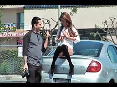 Flashing photo shoot in public parking lot tubes