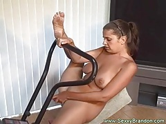 Amateur pussy drips as she exercises tubes