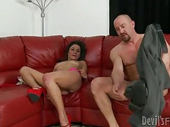 Big cock pushes deep into slutty cunt tubes
