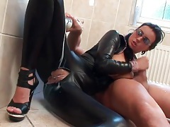 Ripped leather catsuit on a cock riding slut tubes