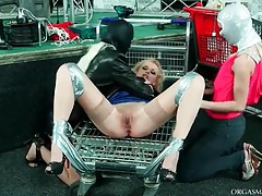 Lesbian taped down and played with tubes