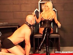 Blonde goddess punishes pathetic slave for wanking his cock tubes