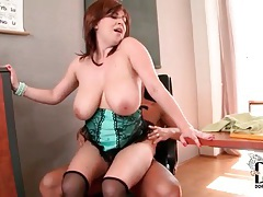 Her big tits bounce as she rides hard cock tubes