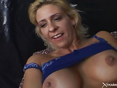 Toys fill holes of blonde in blue lingerie tubes