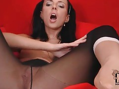 Sheer black tights look hot on solo girl tubes