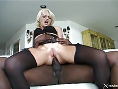 Blonde chick decked out in sexy lingerie has anal tubes