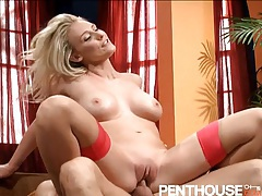 Beautiful blonde with big boobs laid in her pussy tubes