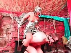 Chick in shiny metal outfit rides around a guy tubes