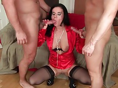 Shiny red satin blouse on double penetrated slut tubes