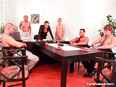 Naked man humiliated at an office meeting tubes