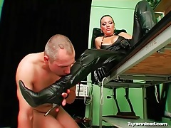 Dominant leather mistress gives him a strapon fuck tubes