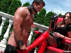 He cums on her boots and licks it up tubes