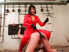 Spanking abuse from sexy woman in latex tubes