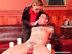 She dildo fucks guy she covered in hot wax tubes