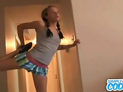 Sporty teen girl cody models her tiny tits tubes