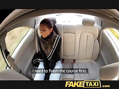 Faketaxi young student fucks for cash on her journey tubes