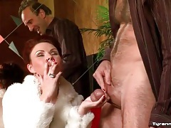 Smoking mistress plays rough with his balls tubes