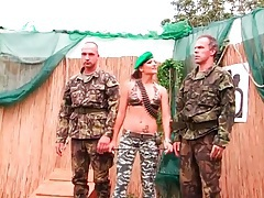 Lady drill sergeant abuses two recruits outdoors tubes