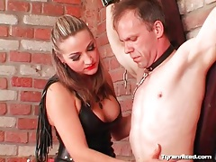 Lipstick and leather mistress dominates a guy tube