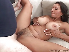 Hairy milf pussy filled with thick creampie tubes