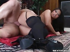 Arousing fireside fuck with asian in stockings tubes