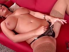 Beautiful tiny panties on sexy girl in stockings tubes