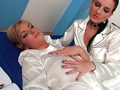 White satin pajamas are sexy on lesbians tubes