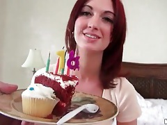 Redhead sucks a dick on her birthday tubes