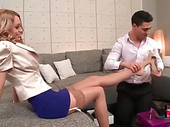 He helps her try on shoes and sucks her toes tubes