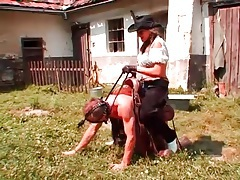 Cowgirl rides him like a pony outdoors tubes